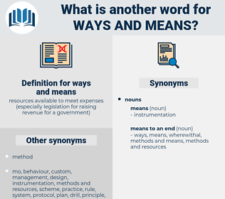 ways and means, synonym ways and means, another word for ways and means, words like ways and means, thesaurus ways and means