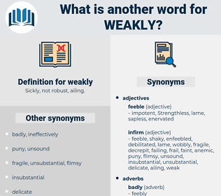 weakly, synonym weakly, another word for weakly, words like weakly, thesaurus weakly