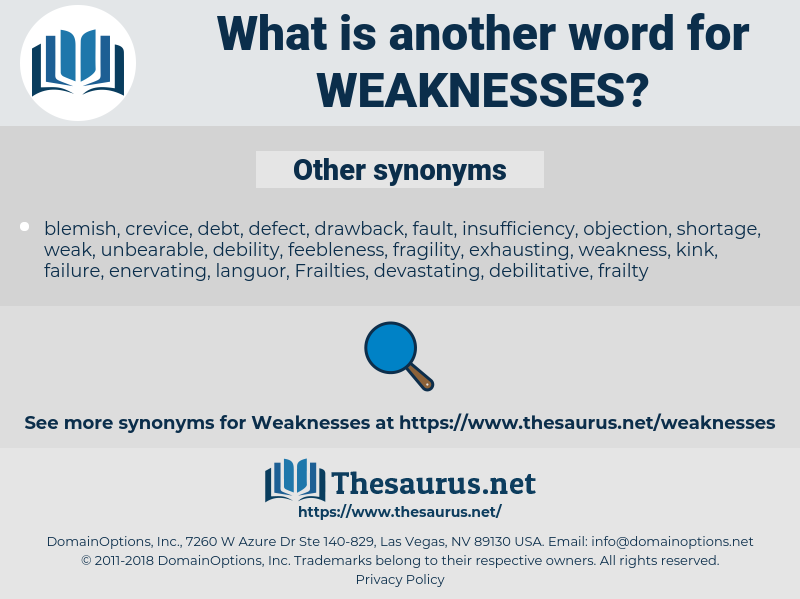 weaknesses, synonym weaknesses, another word for weaknesses, words like weaknesses, thesaurus weaknesses