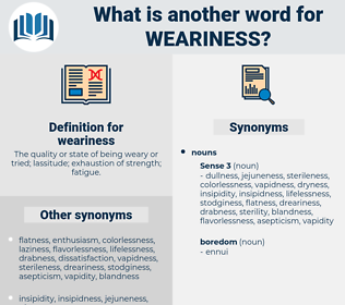 weariness, synonym weariness, another word for weariness, words like weariness, thesaurus weariness