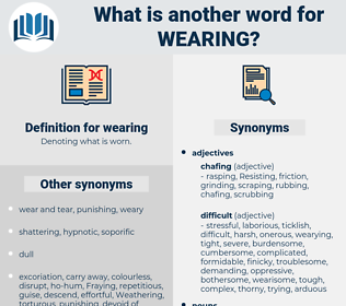 wearing, synonym wearing, another word for wearing, words like wearing, thesaurus wearing