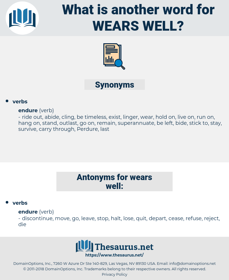 wears well, synonym wears well, another word for wears well, words like wears well, thesaurus wears well