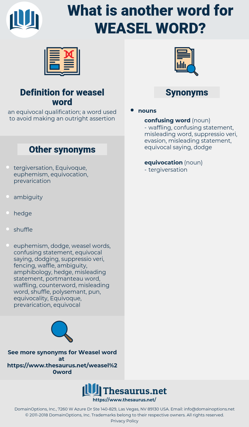 weasel word, synonym weasel word, another word for weasel word, words like weasel word, thesaurus weasel word