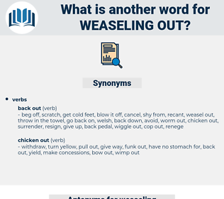 weaseling out, synonym weaseling out, another word for weaseling out, words like weaseling out, thesaurus weaseling out