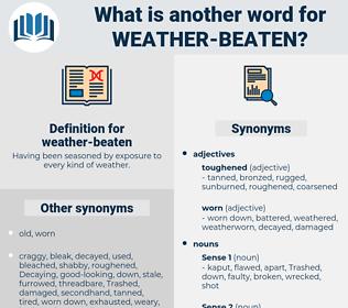 weather-beaten, synonym weather-beaten, another word for weather-beaten, words like weather-beaten, thesaurus weather-beaten