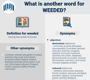 weeded, synonym weeded, another word for weeded, words like weeded, thesaurus weeded