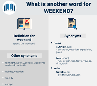 weekend, synonym weekend, another word for weekend, words like weekend, thesaurus weekend