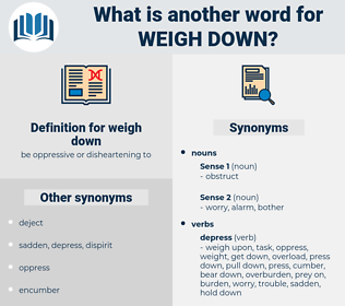 weigh down, synonym weigh down, another word for weigh down, words like weigh down, thesaurus weigh down
