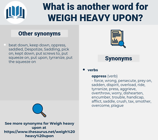 weigh heavy upon, synonym weigh heavy upon, another word for weigh heavy upon, words like weigh heavy upon, thesaurus weigh heavy upon