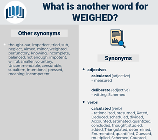 Weighed, synonym Weighed, another word for Weighed, words like Weighed, thesaurus Weighed
