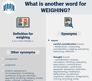 weighing, synonym weighing, another word for weighing, words like weighing, thesaurus weighing