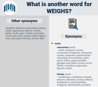 weighs, synonym weighs, another word for weighs, words like weighs, thesaurus weighs