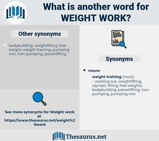 weight work, synonym weight work, another word for weight work, words like weight work, thesaurus weight work