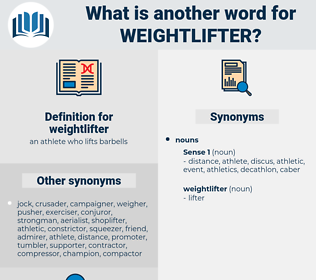 weightlifter, synonym weightlifter, another word for weightlifter, words like weightlifter, thesaurus weightlifter