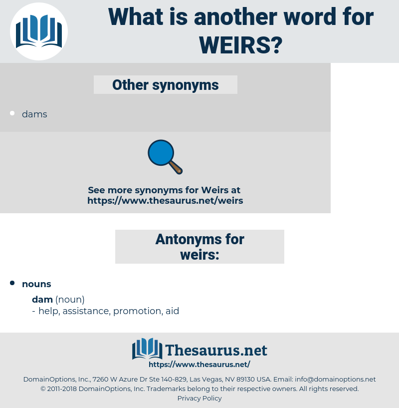 weirs, synonym weirs, another word for weirs, words like weirs, thesaurus weirs