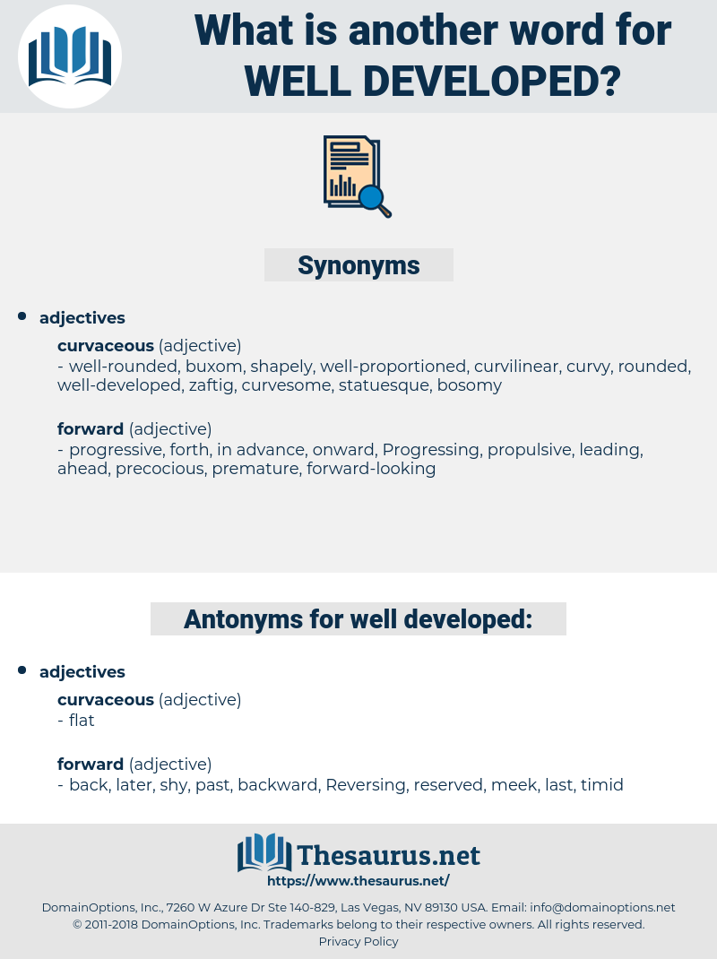 Synonyms For Well Developed Antonyms For Well Developed Thesaurus Net