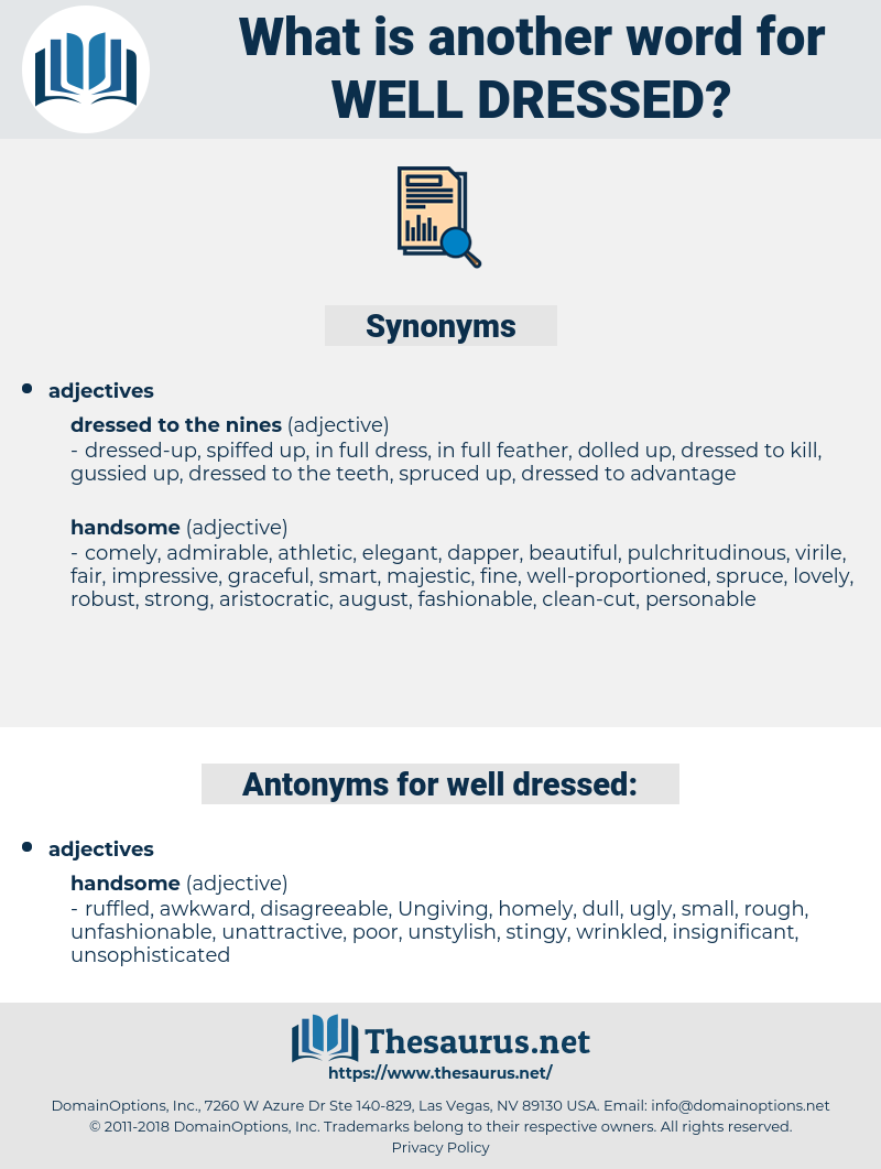 Synonyms for WELL-DRESSED - Thesaurus.net