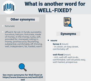well-fixed, synonym well-fixed, another word for well-fixed, words like well-fixed, thesaurus well-fixed