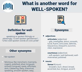well-spoken, synonym well-spoken, another word for well-spoken, words like well-spoken, thesaurus well-spoken