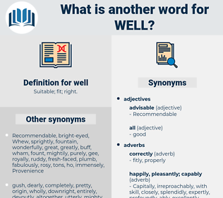 well, synonym well, another word for well, words like well, thesaurus well