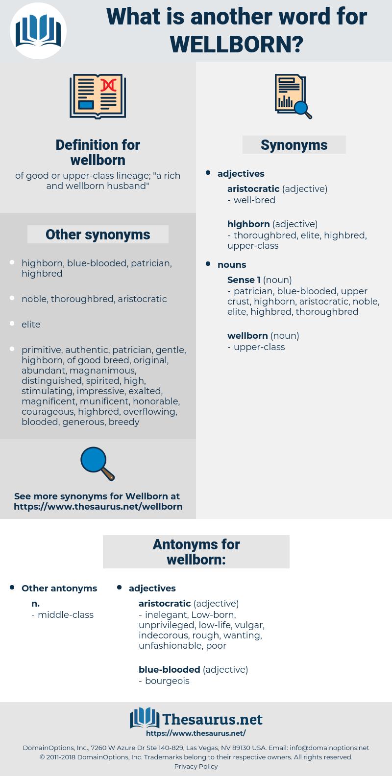 wellborn, synonym wellborn, another word for wellborn, words like wellborn, thesaurus wellborn