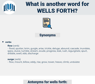 wells forth, synonym wells forth, another word for wells forth, words like wells forth, thesaurus wells forth