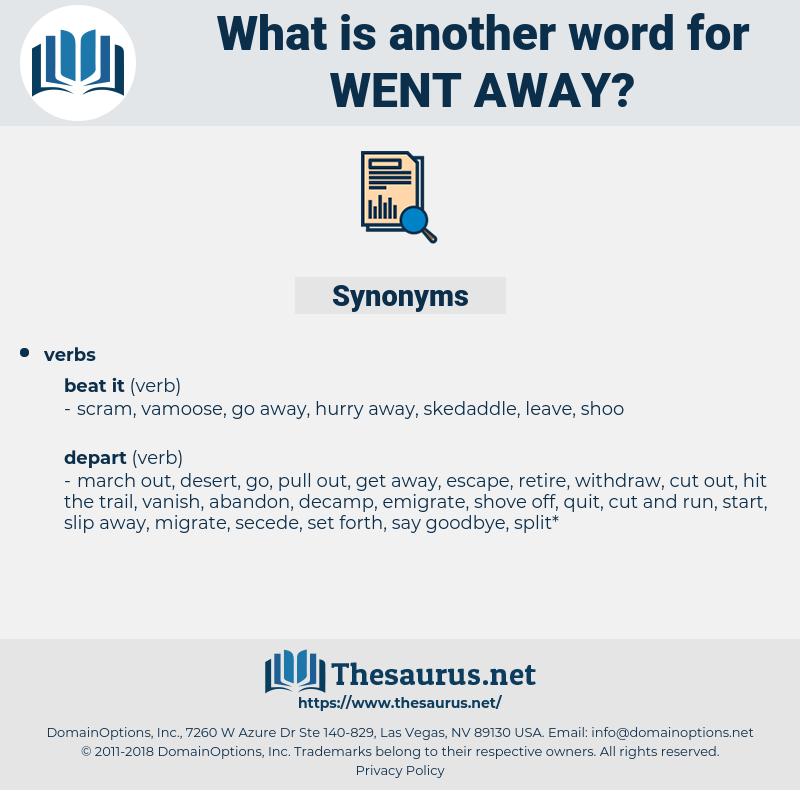 went away, synonym went away, another word for went away, words like went away, thesaurus went away