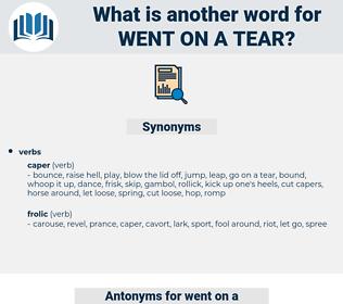 went on a tear, synonym went on a tear, another word for went on a tear, words like went on a tear, thesaurus went on a tear