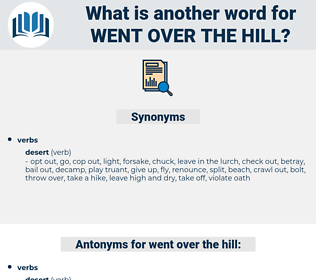went over the hill, synonym went over the hill, another word for went over the hill, words like went over the hill, thesaurus went over the hill