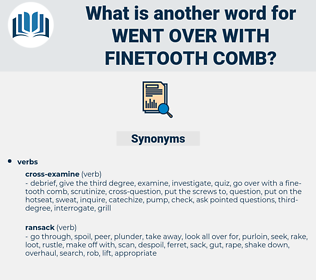 went over with finetooth comb, synonym went over with finetooth comb, another word for went over with finetooth comb, words like went over with finetooth comb, thesaurus went over with finetooth comb