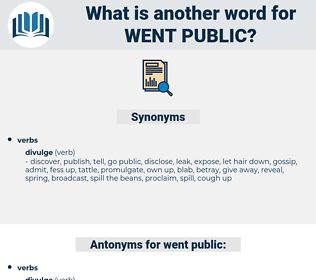 went public, synonym went public, another word for went public, words like went public, thesaurus went public