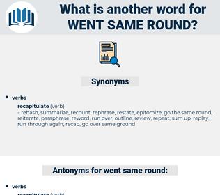 went same round, synonym went same round, another word for went same round, words like went same round, thesaurus went same round
