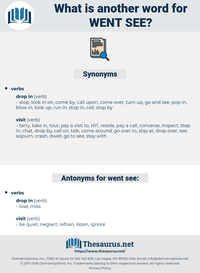 went see, synonym went see, another word for went see, words like went see, thesaurus went see