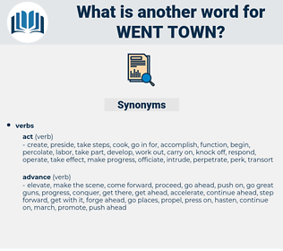 went town, synonym went town, another word for went town, words like went town, thesaurus went town