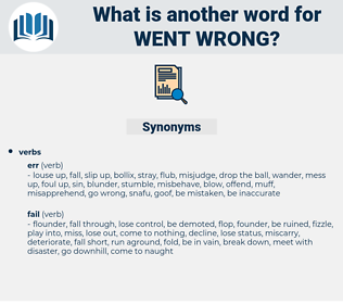 went wrong, synonym went wrong, another word for went wrong, words like went wrong, thesaurus went wrong