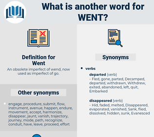 Went, synonym Went, another word for Went, words like Went, thesaurus Went