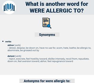 were allergic to, synonym were allergic to, another word for were allergic to, words like were allergic to, thesaurus were allergic to