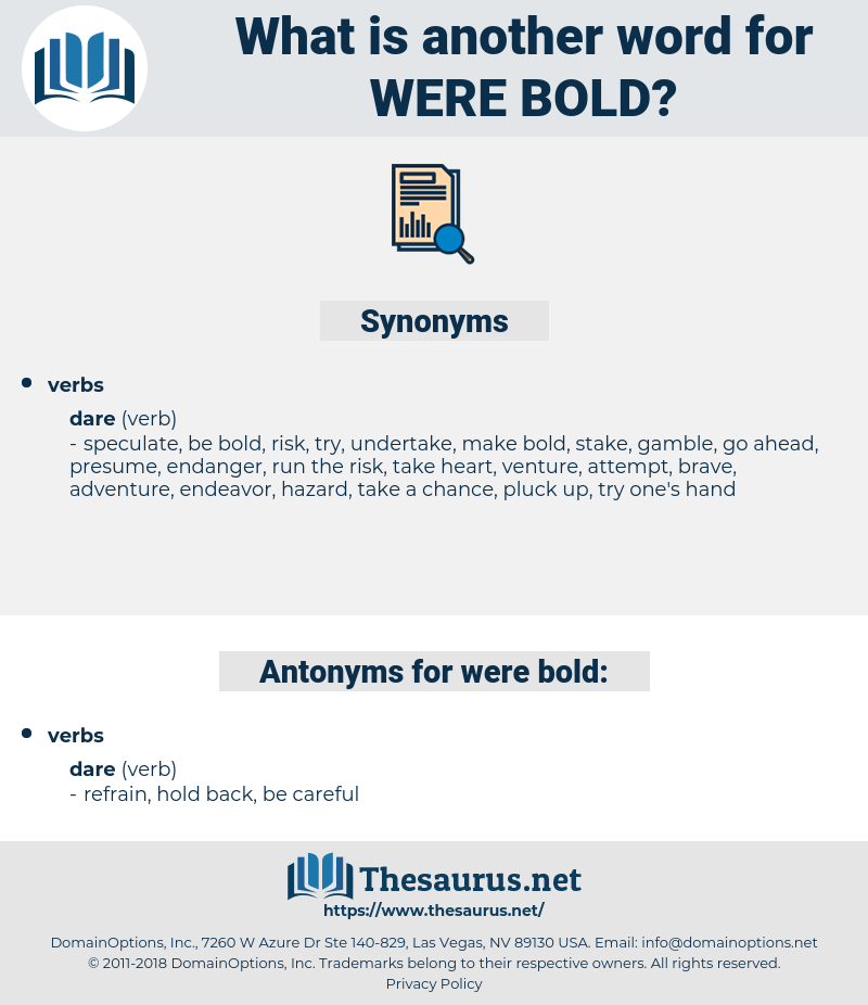 were bold, synonym were bold, another word for were bold, words like were bold, thesaurus were bold
