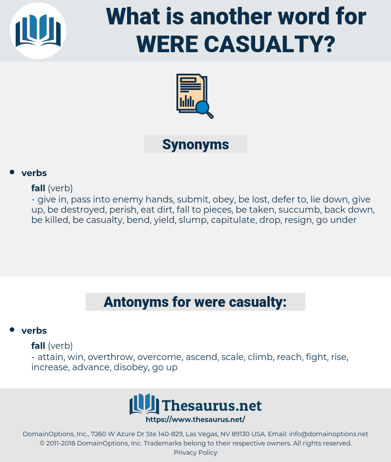 were casualty, synonym were casualty, another word for were casualty, words like were casualty, thesaurus were casualty