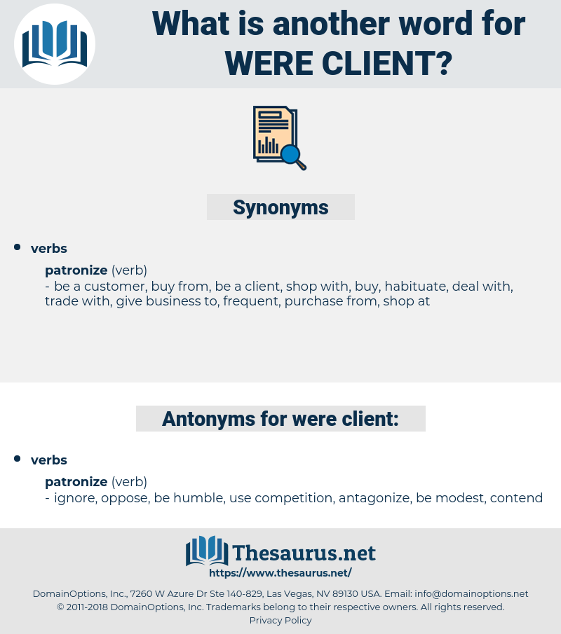 were client, synonym were client, another word for were client, words like were client, thesaurus were client