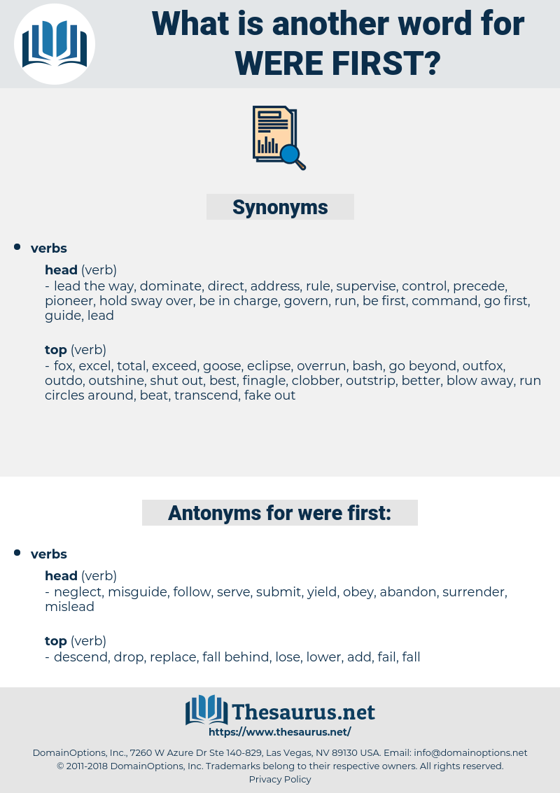 were first, synonym were first, another word for were first, words like were first, thesaurus were first