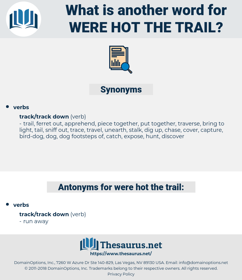 were hot the trail, synonym were hot the trail, another word for were hot the trail, words like were hot the trail, thesaurus were hot the trail