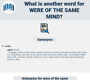 were of the same mind, synonym were of the same mind, another word for were of the same mind, words like were of the same mind, thesaurus were of the same mind