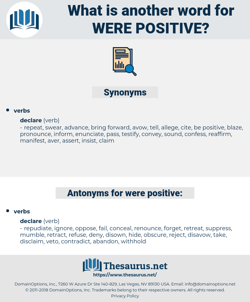 were positive, synonym were positive, another word for were positive, words like were positive, thesaurus were positive