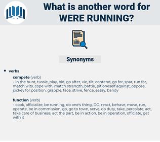 were running, synonym were running, another word for were running, words like were running, thesaurus were running