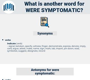 were symptomatic, synonym were symptomatic, another word for were symptomatic, words like were symptomatic, thesaurus were symptomatic