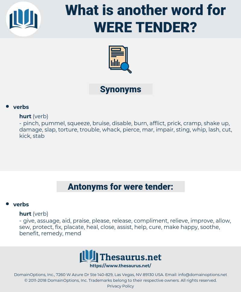 were tender, synonym were tender, another word for were tender, words like were tender, thesaurus were tender