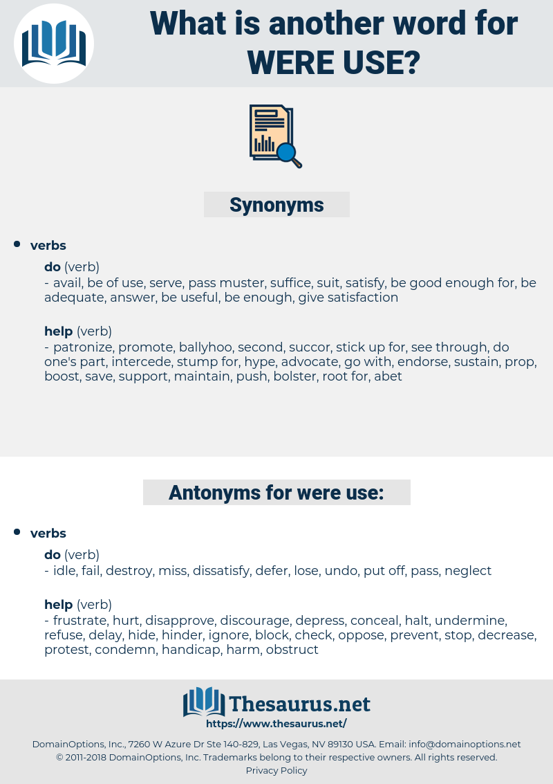 were use, synonym were use, another word for were use, words like were use, thesaurus were use