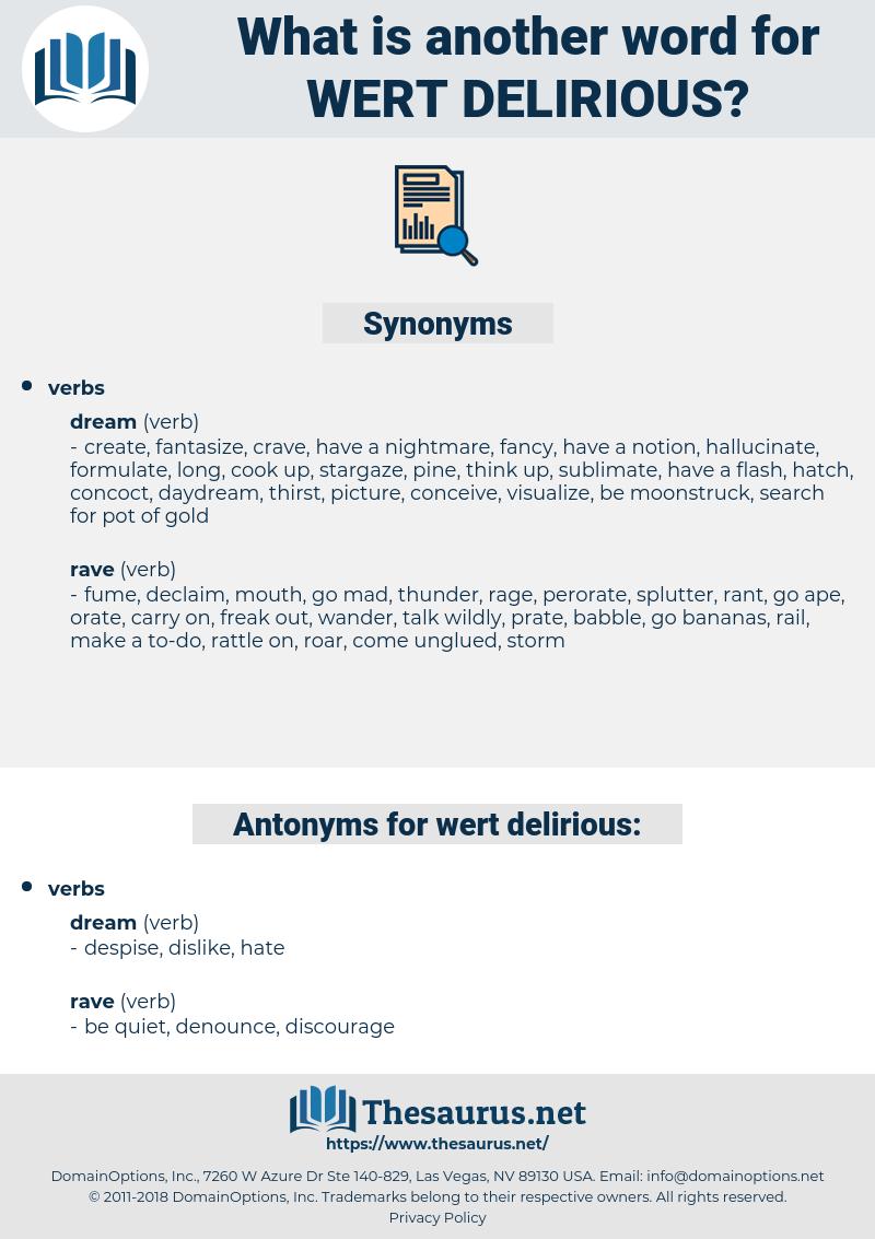wert delirious, synonym wert delirious, another word for wert delirious, words like wert delirious, thesaurus wert delirious