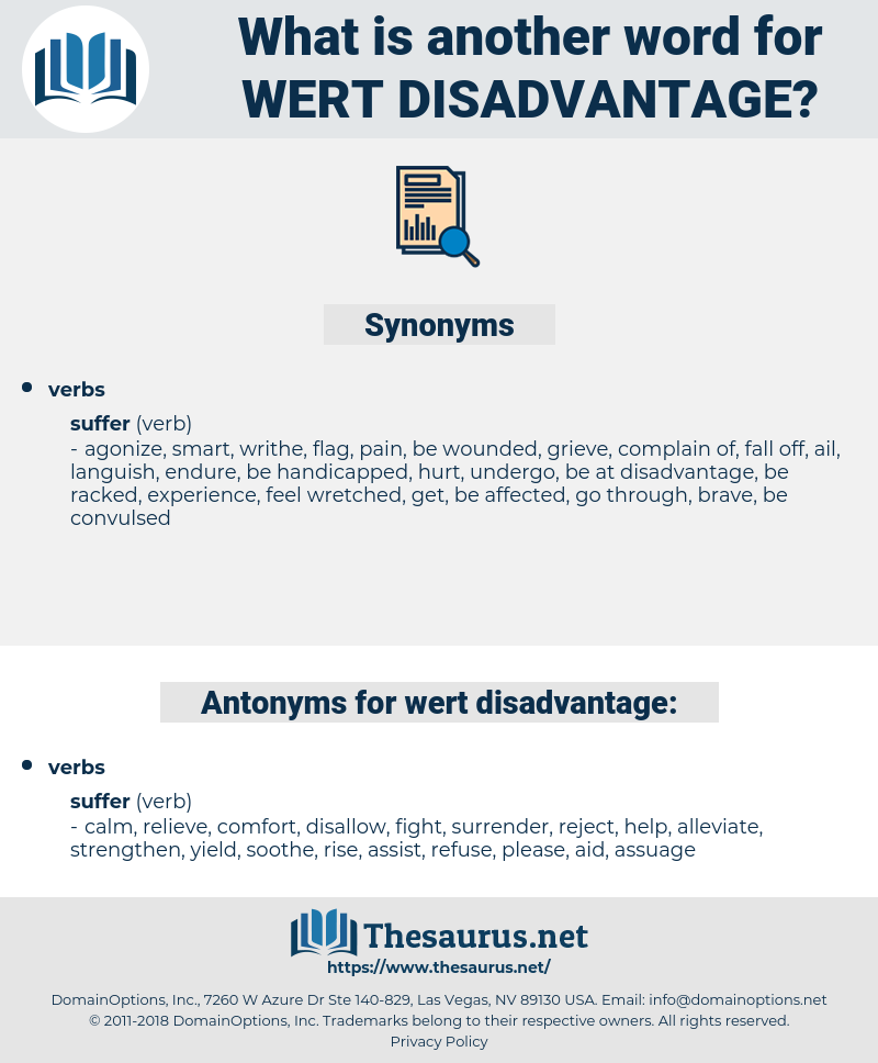 wert disadvantage, synonym wert disadvantage, another word for wert disadvantage, words like wert disadvantage, thesaurus wert disadvantage